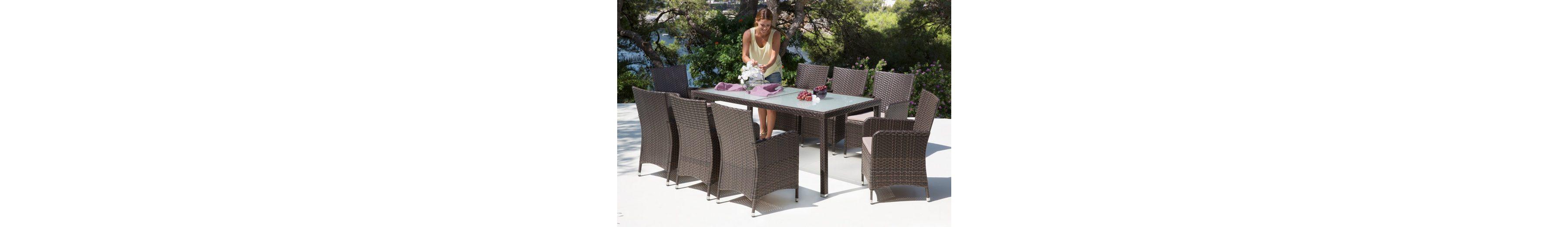 17-tgl. Gartenmöbelset »Sanremo«, 8 Sessel, Tisch185x90 cm, Polyrattan, braun
