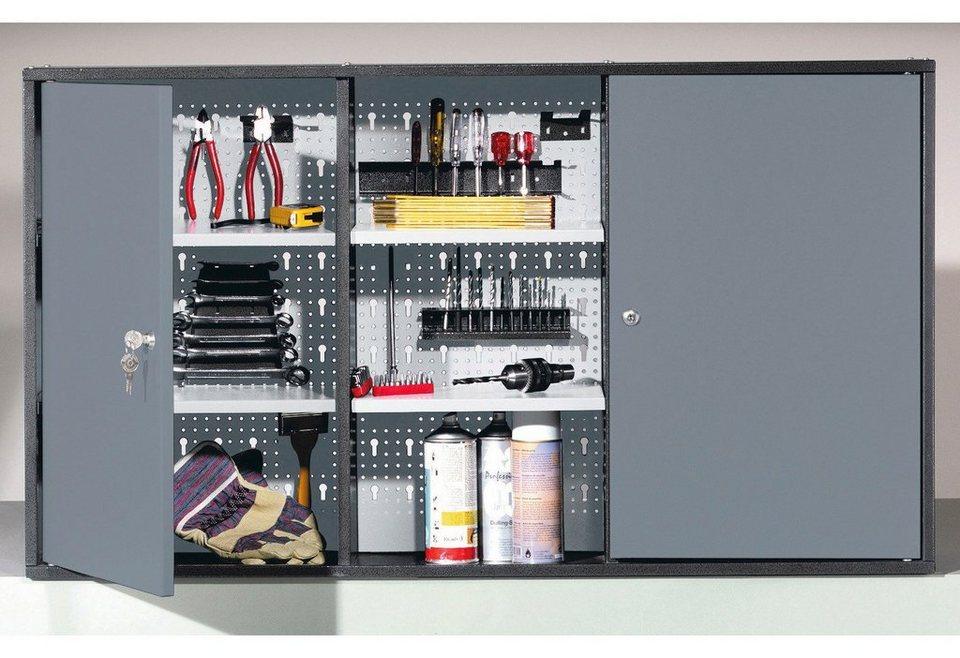 Werkzeugschrank, 2 Türen, grau in grau