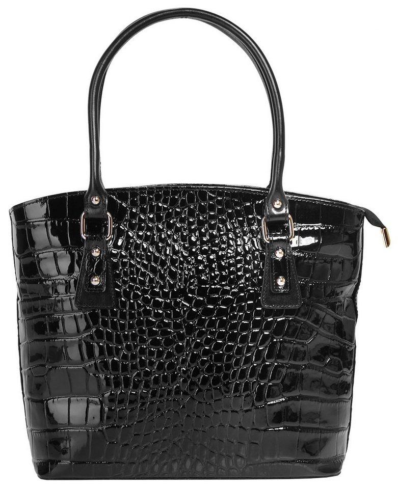 Cluty Leder Damen Handtasche mit Croco-Prägung in schwarz