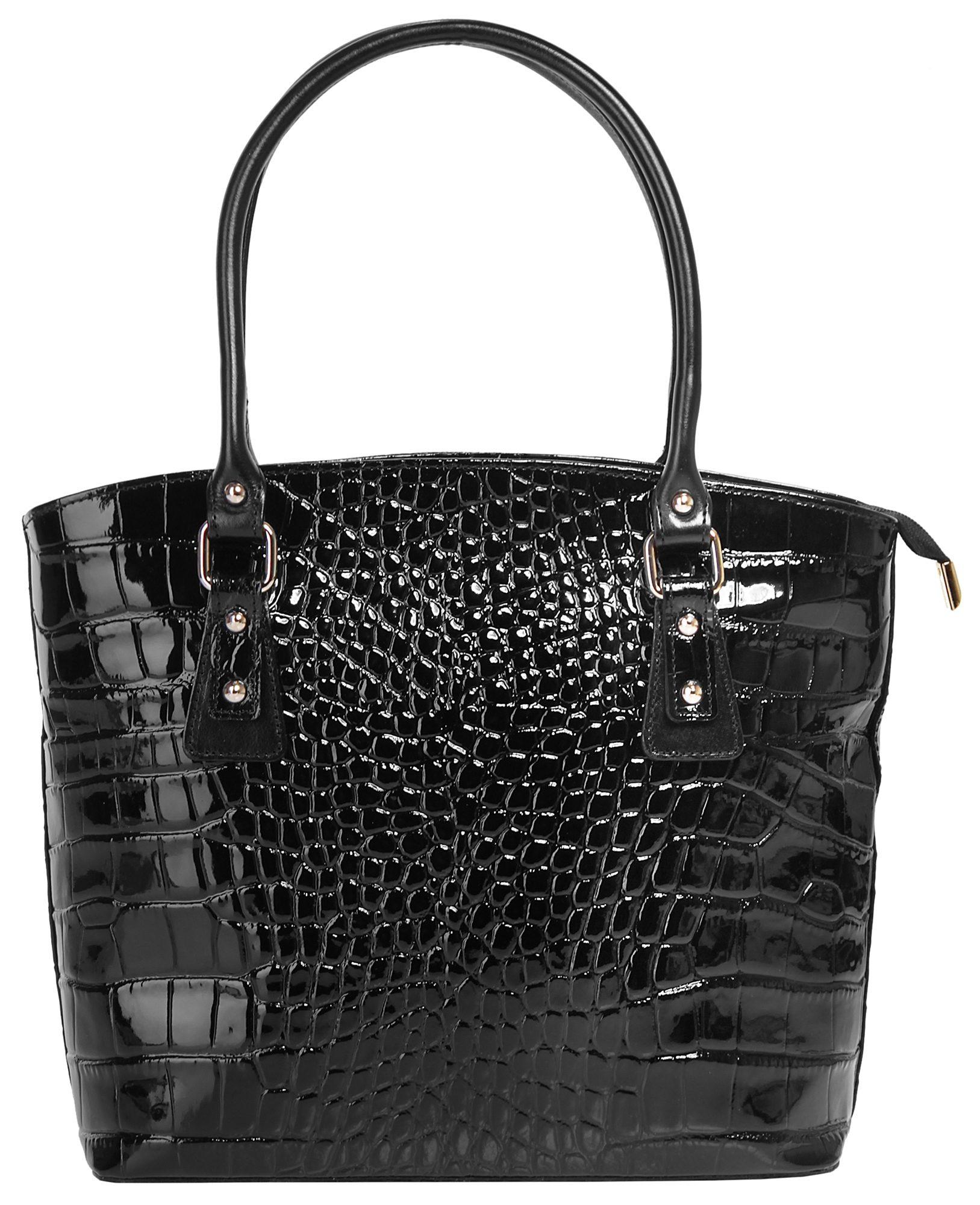 Cluty Leder Damen Handtasche mit Croco-Prägung