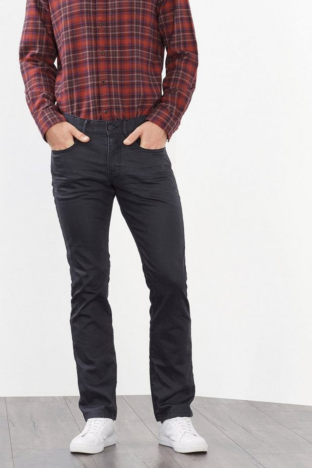 ESPRIT CASUAL Schwarze Stretch-Jeans aus Coated-Denim in GRAPHITE GREY