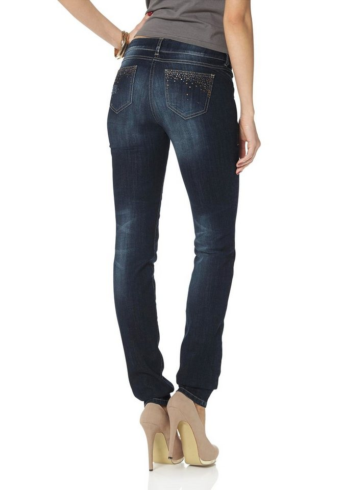 Melrose Röhrenjeans mit Glitzersteinen in blue-used