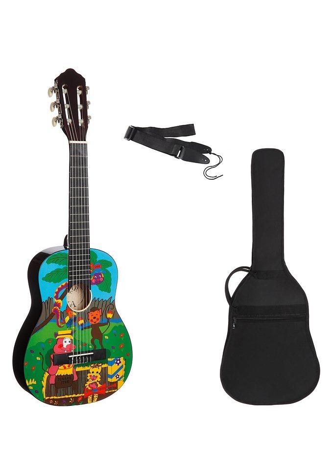 Set: Kindergitarre + Zubehör, »Konzertgitarren Set 1/4 mit Zoo Motiv«, MSA in bunt