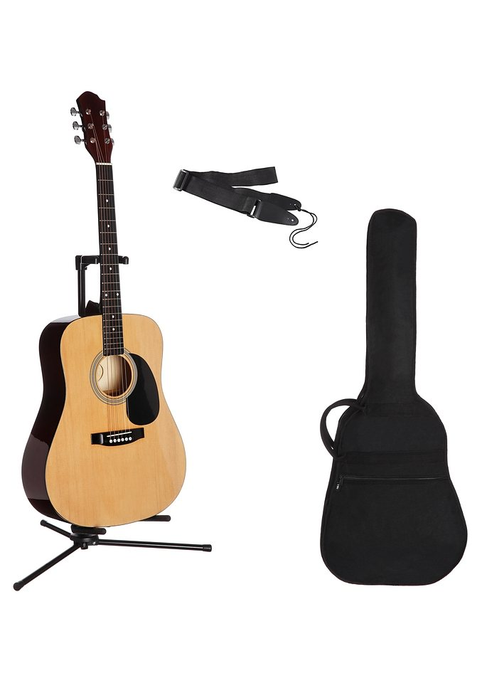 Westerngitarrenset für Rechts- und Linkshänder, »4/4 Westerngitarre mit Zubehör«, MSA in natur