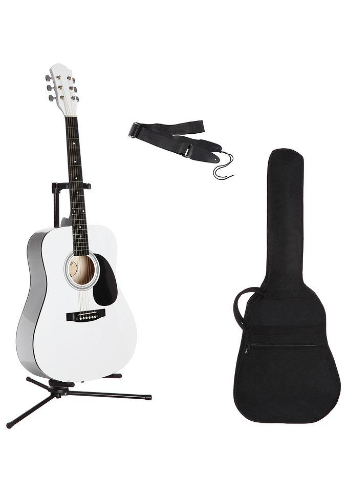 Westerngitarrenset für Rechts- und Linkshänder, »4/4 Westerngitarre mit Zubehör«, MSA in weiß