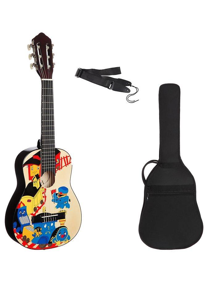 Set: Kindergitarre + Zubehör, »Konzertgitarren Set 1/4 mit Zug Motiv«, MSA in bunt