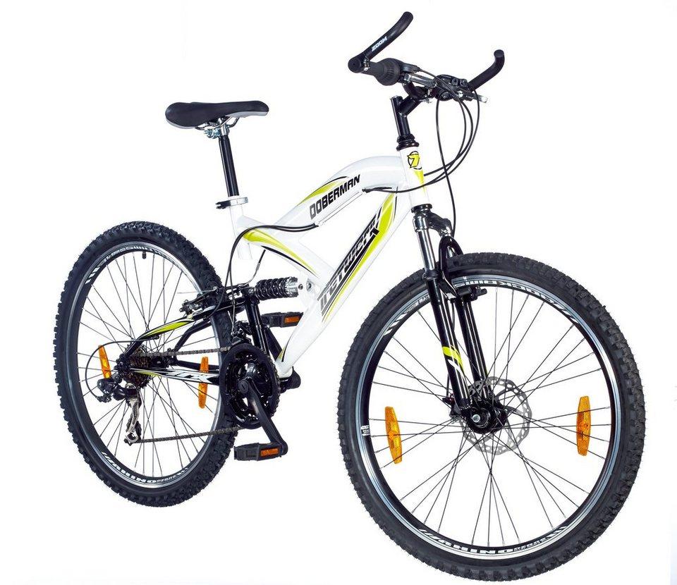 Mountainbike »Doberman«, 26 Zoll, 21 Gang, Scheibenbremse in weiß