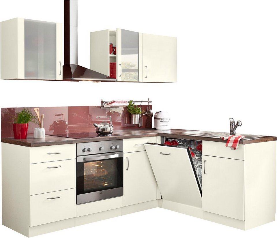 wiho Küchen Winkelküche »Brüssel«, mit E-Geräten, Stellbreite 220 x ...