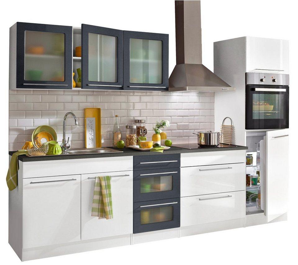 Küchenzeile, Held Möbel, »Malta«, mit E-Geräten, Breite 290 cm in Weiß / Anthrazit