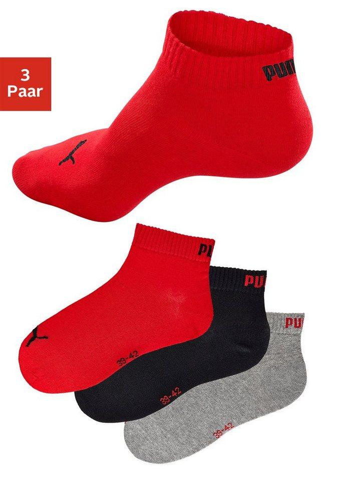 PUMA Sportliche Kurzsocken (3 Paar) mit Rippbündchen in schwarz + grau meliert + rot