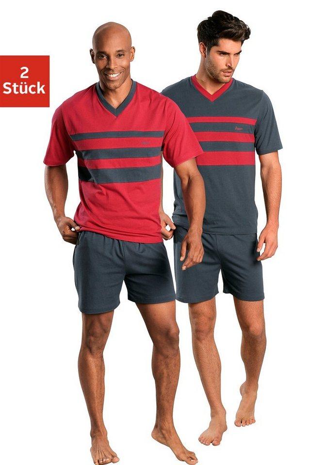 Le Jogger, Shorty (2 Stück), Pyjamas, kurz in rot + grau