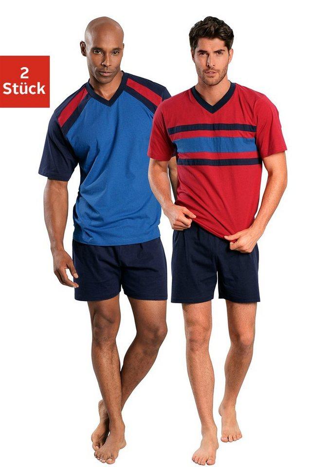 Le Jogger, Shorty (2 Stück), Pyjamas, kurz in blau-marine + rot-marine