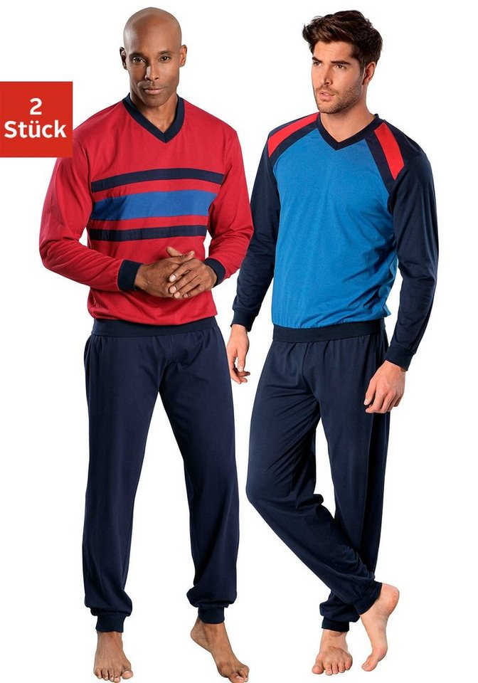 Le Jogger, Pyjamas (2 Stück),lang in rot-marine + blau-marine