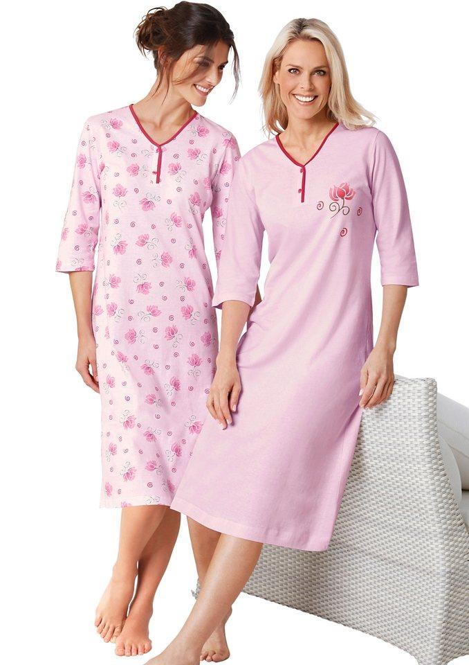 Nachthemden, Ascafa (2 Stck.) in rosé + rosé-bedruckt