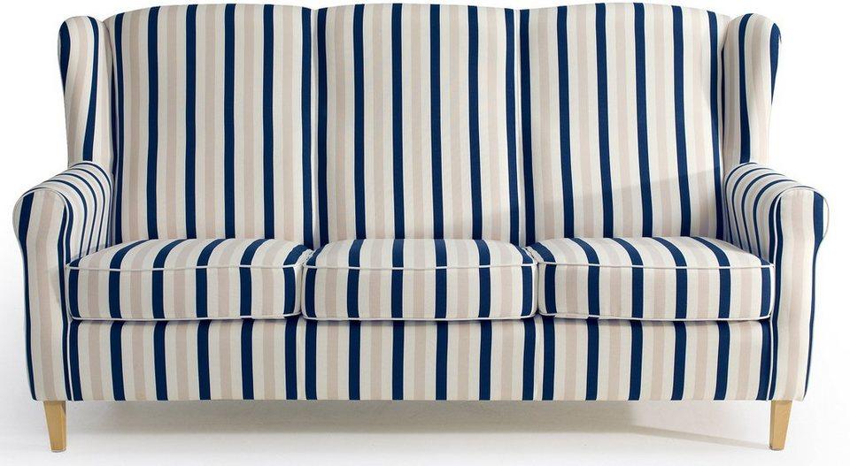 Retro Sofa mit blauen Streifen