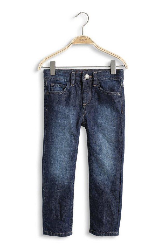 ESPRIT Dunkle Non-Stretch Jeans mit Verstellbund in SUPERDARK DENIM