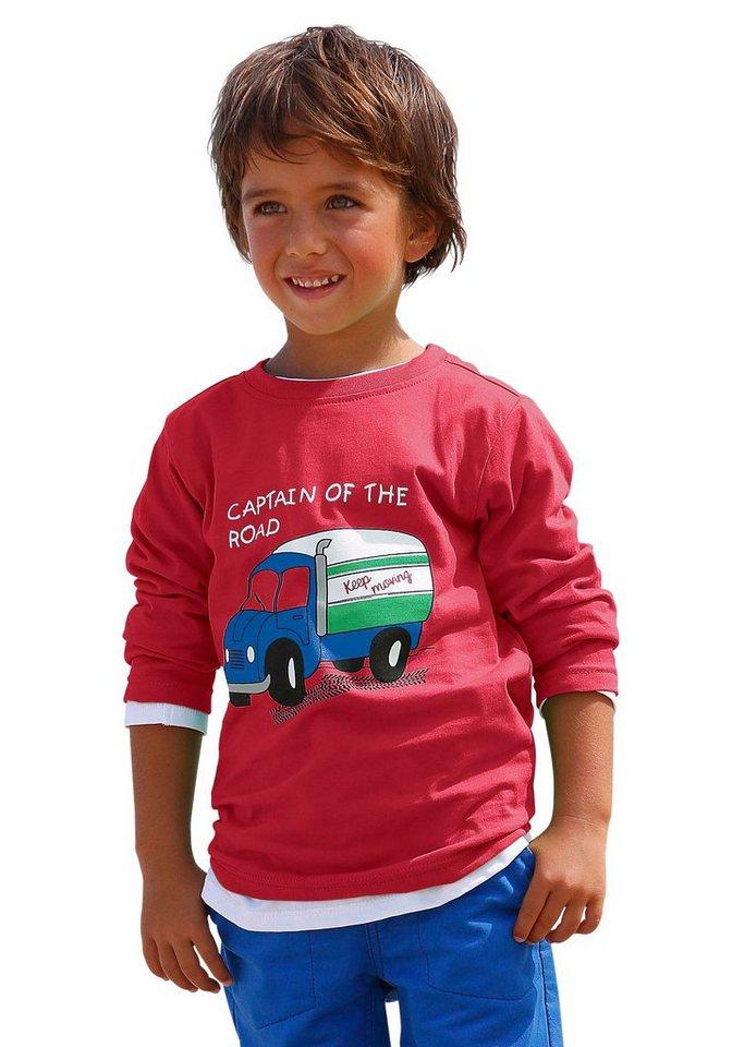 CFL Langarmshirt mit Lastwagenmotiv in rot