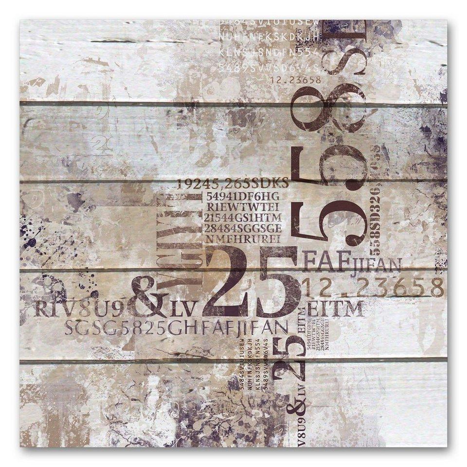 Holzbild »Abstrakt - Zahlen«, 50x50cm in braun