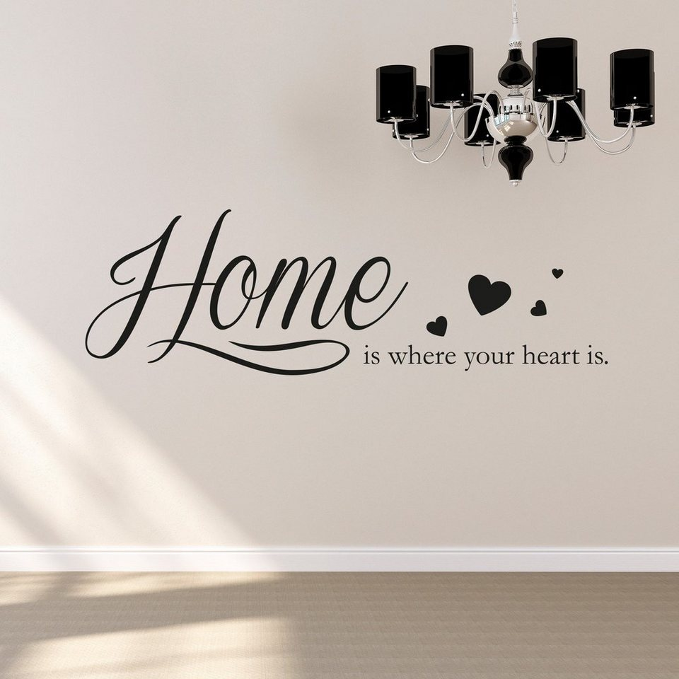Wandtattoo »Home is where your heart is« in schwarz
