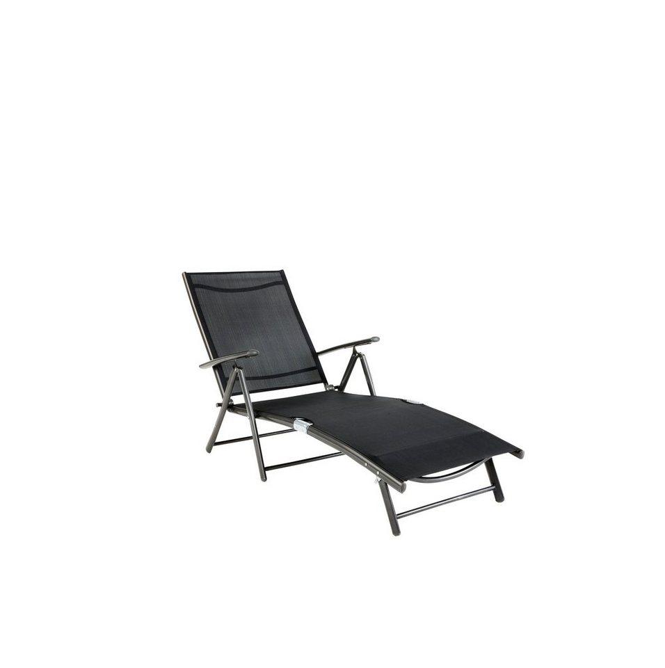 Gartenliege »Rügen«, Alu/Textil, schwarz in schwarz