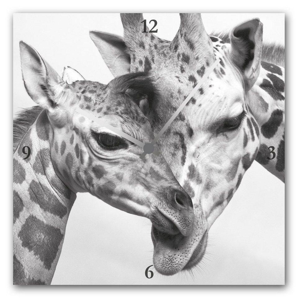 Acrylglas-Uhr »Giraffen« in grau