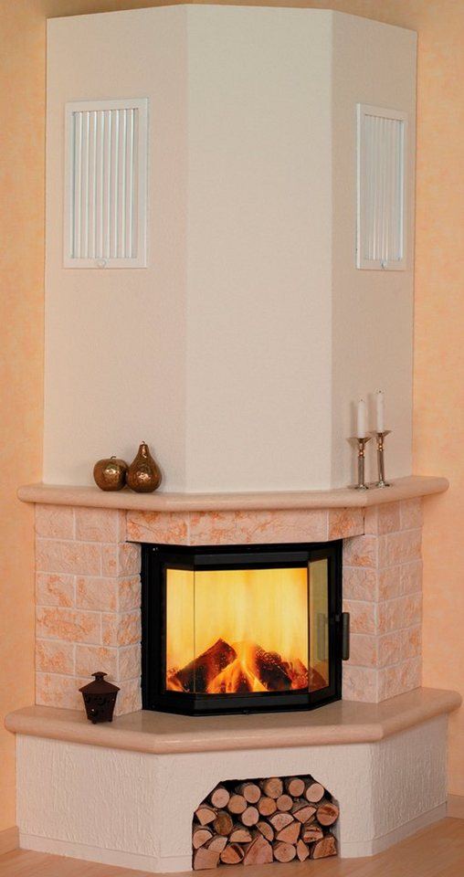 Kaminbausatz »Vermont echter Marmor classico-beige«, 8 kW, Eckmodel in weiß