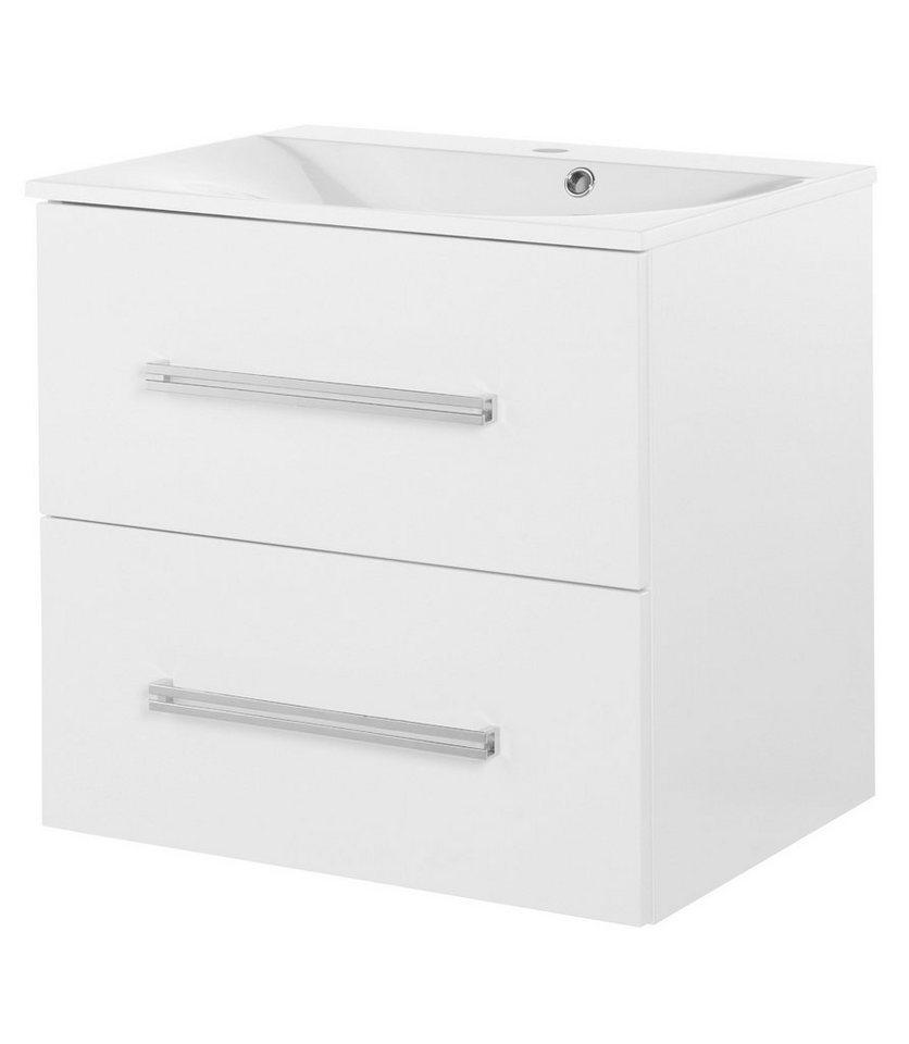 Waschtisch »Lugano«, Breite 60 cm, (2-tlg.) in weiß/weiß