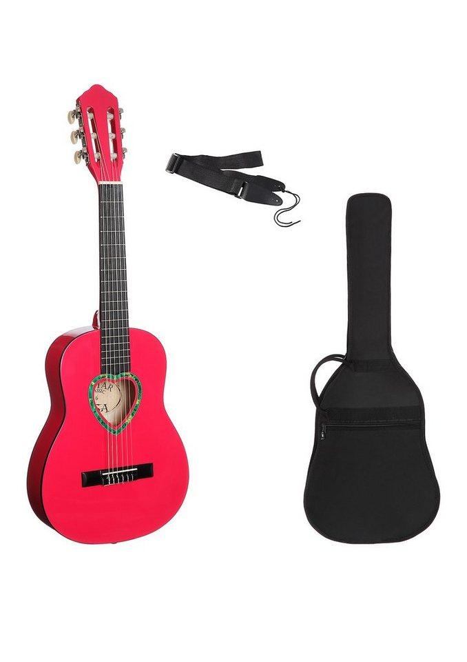 Kindergitarre, »Konzertgitarre ¼ mit herzförmigem Schallloch«, MSA in rosa