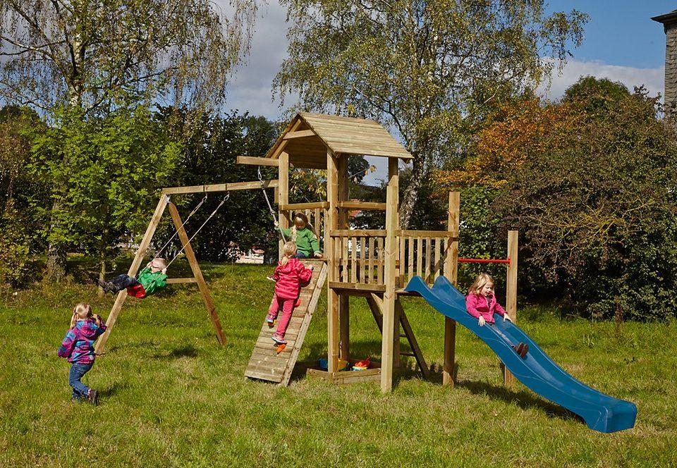 Dein Spielplatz Spielturm mit Sandkasten, Kletterwand und Rutsche, blau »Pirate & Princess 1«