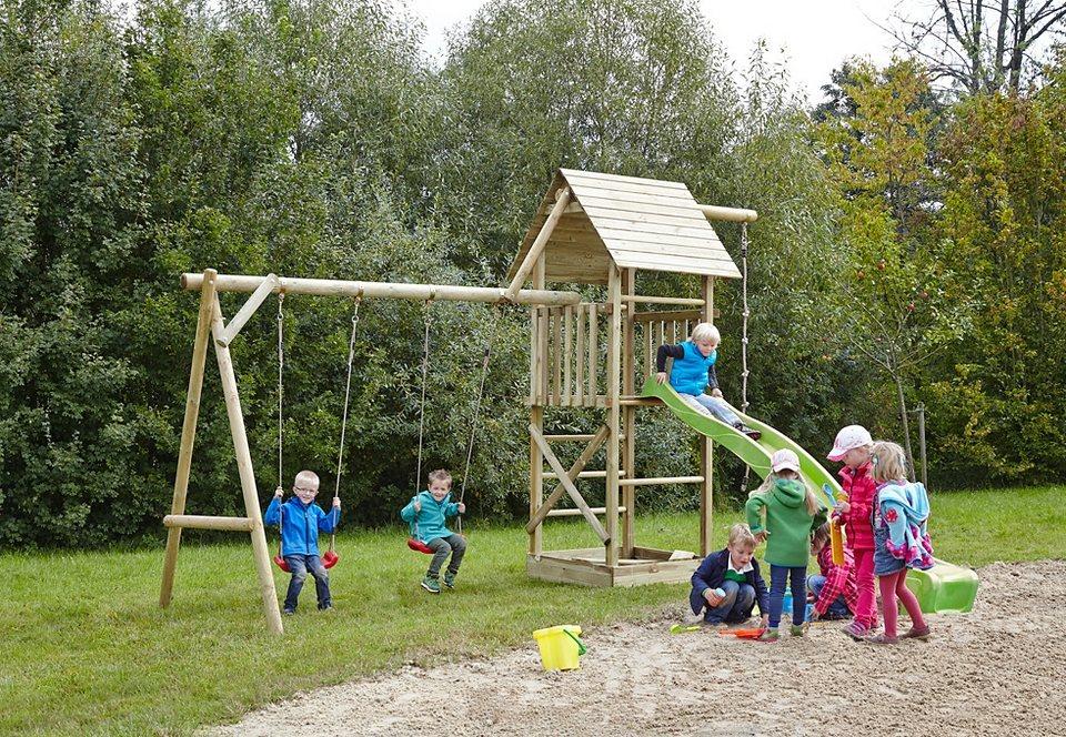 Dein Spielplatz Spielturm mit Schaukel und Wellenrutsche, hellgrün »Obelix XL mit Holzdach« in natur