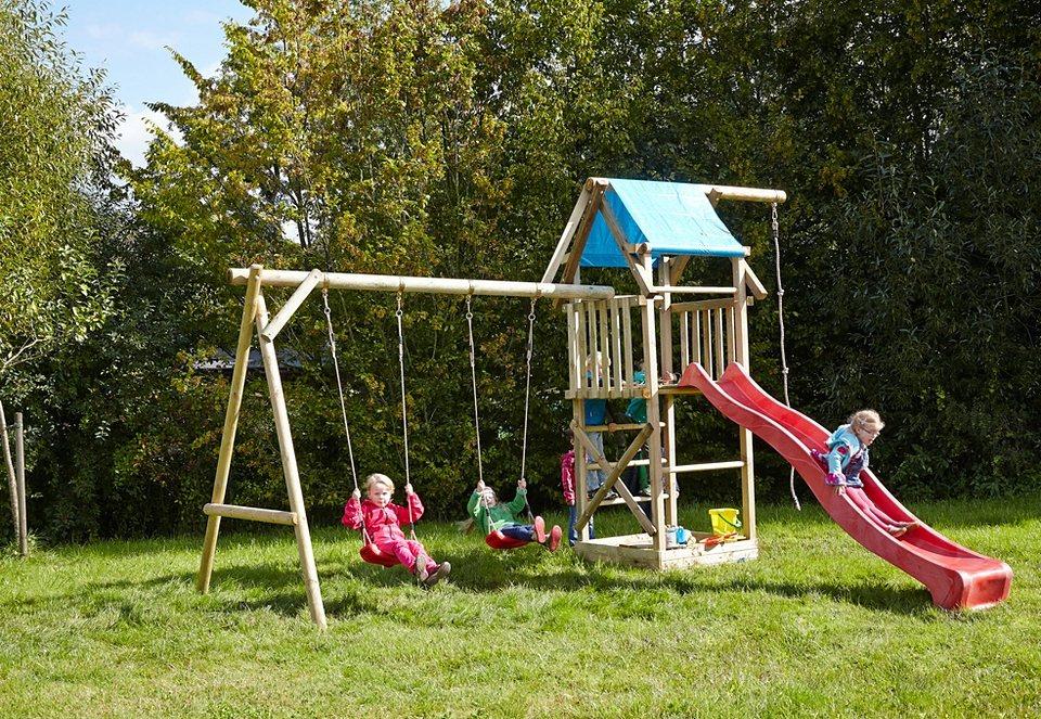 Dein Spielplatz Spielturm mit Wellenrutsche, rot »Asterix XL mit Planendach«. in natur