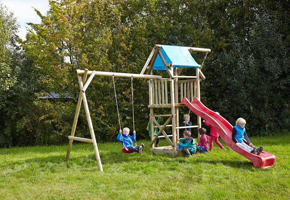 Dein Spielplatz Spielturm mit Wellenrutsche, rot »Asterix mit Planendach« in natur