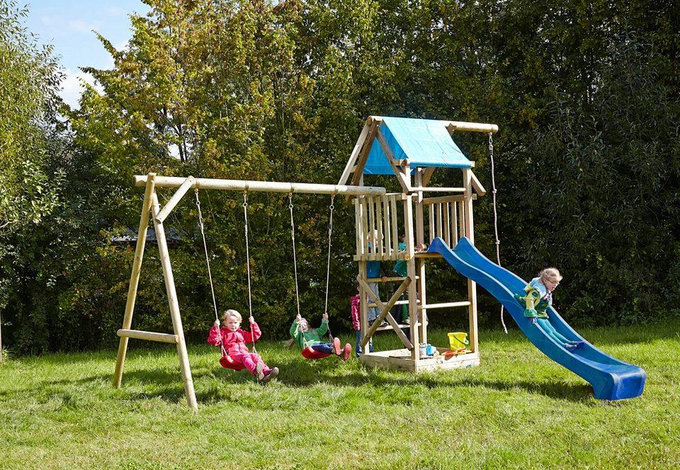 Ordentlich Dein Spielplatz Spielturm mit Sandkasten und Wellenrutsche, blau  YT35