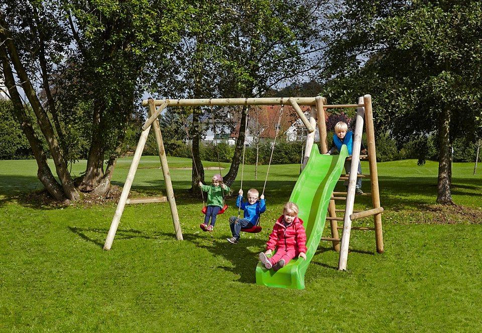 Dein Spielplatz Schaukel, hellgrün »Doppelschaukel Justin mit Wellenrutsche« in natur