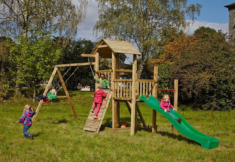 Dein Spielplatz Spielturm mit Sandkasten, Kletterwand und Rutsche, grün »Pirate & Princess 1« in natur