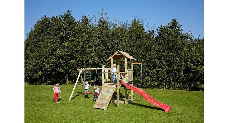 Dein Spielplatz Spielturm mit Sandkasten, Doppelschaukel und Wellenrutsche, rot »Pirate & Princess