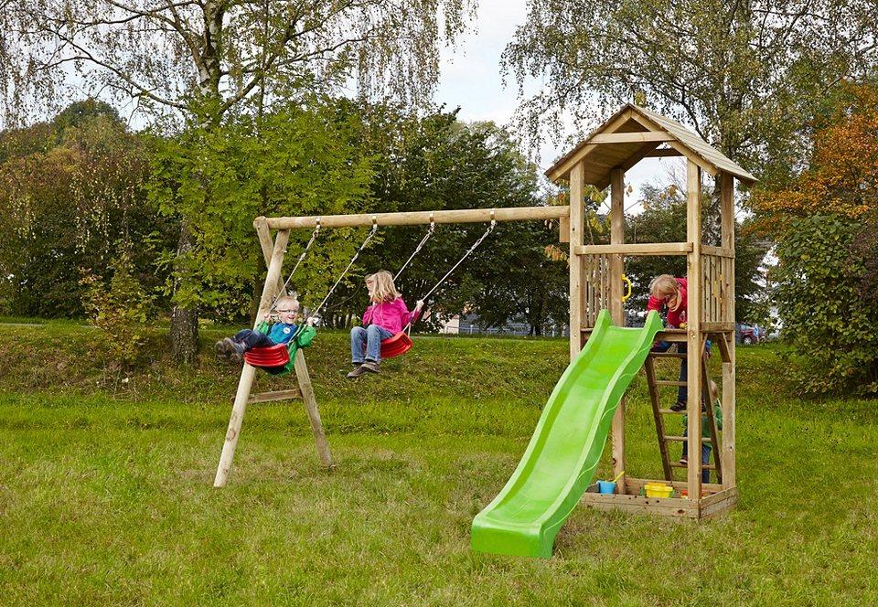 Dein Spielplatz Spielturm mit Sandkasten, Schaukel und Rutsche, hellgrün »Pirate & Princess 3« in natur
