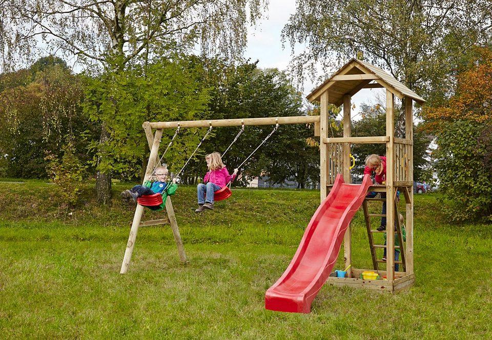 Dein Spielplatz Spielturm mit Sandkasten, Schaukel und Rutsche, rot »Pirate & Princess 3«.
