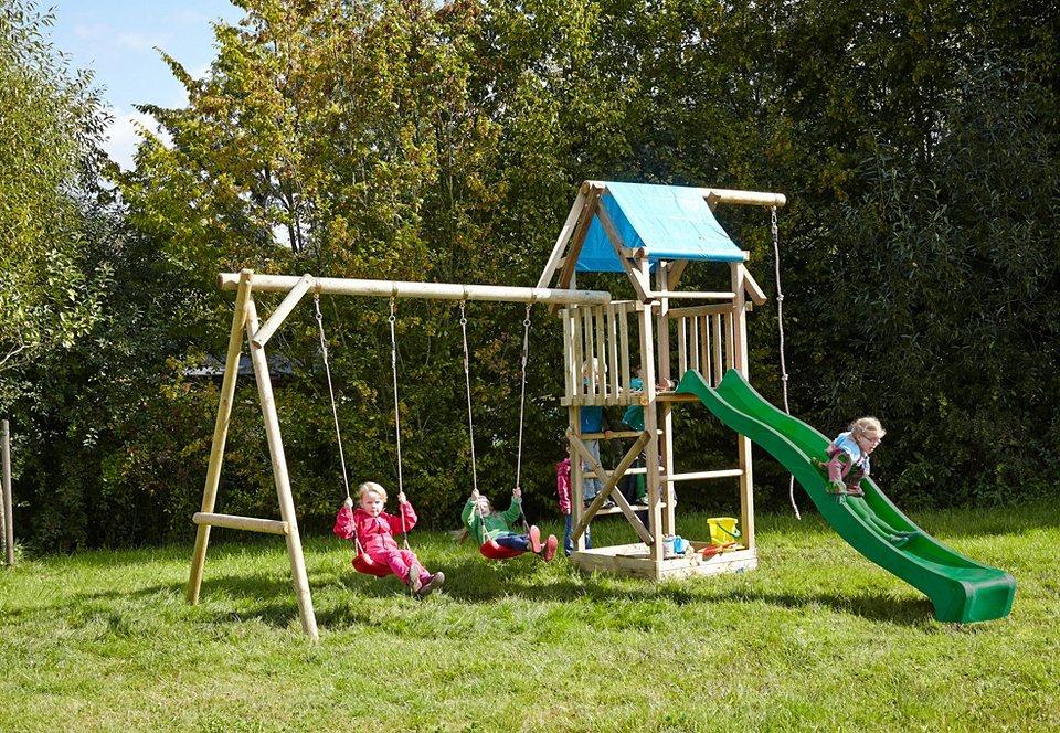 Dein Spielplatz Spielturm aus Holz mit Sandkasten »Asterix XL mit Planendach«, grün in natur
