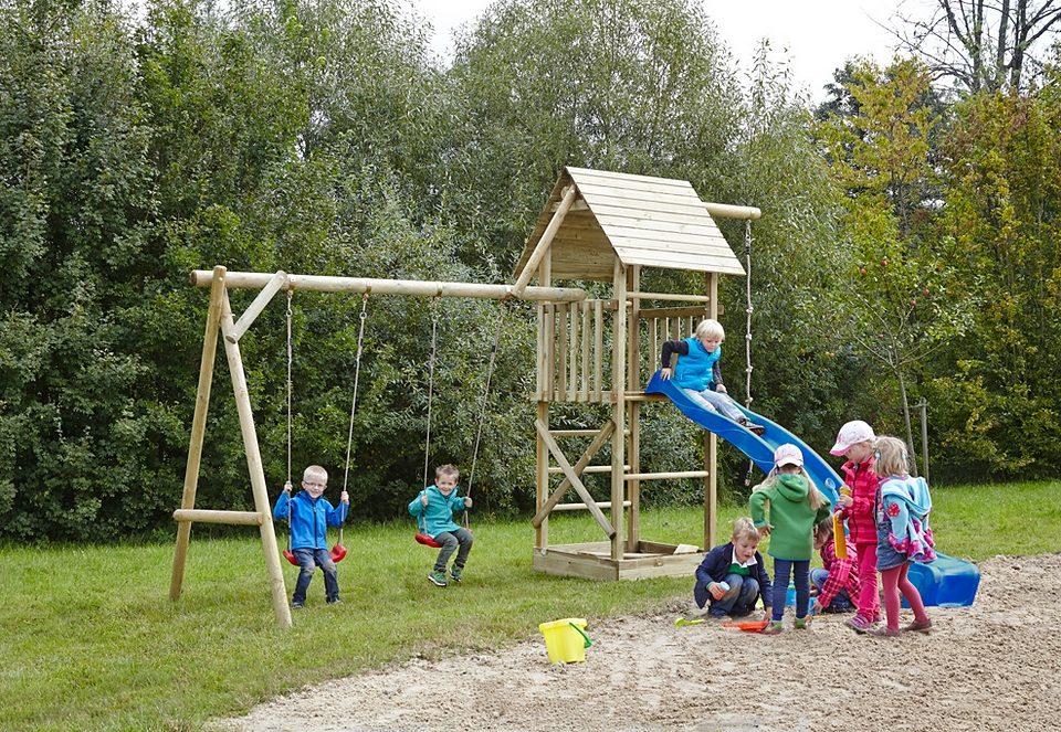Dein Spielplatz Spielturm mit Holzdach und Wellenrusche, blau »Obelix XL mit Holzdach«.