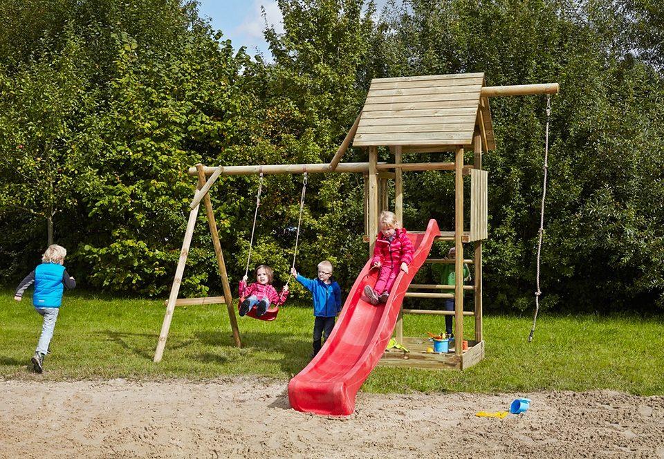 Dein Spielplatz Spielturm mit Schaukel, Kotenseil und Rutsche, rot »Obelix mit Holzdach«