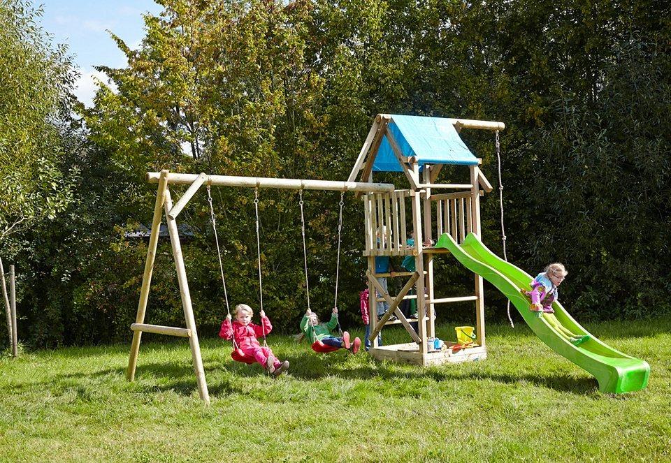 Dein Spielplatz Spielturm mit Doppelschaukel und Rutsche, hellgrün »Asterix XL mit Planendach« in natur