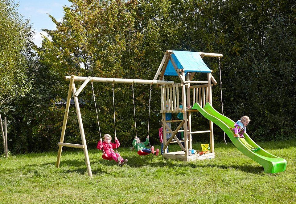 Dein Spielplatz Spielturm mit Doppelschaukel und Rutsche, hellgrün »Asterix XL mit Planendach«