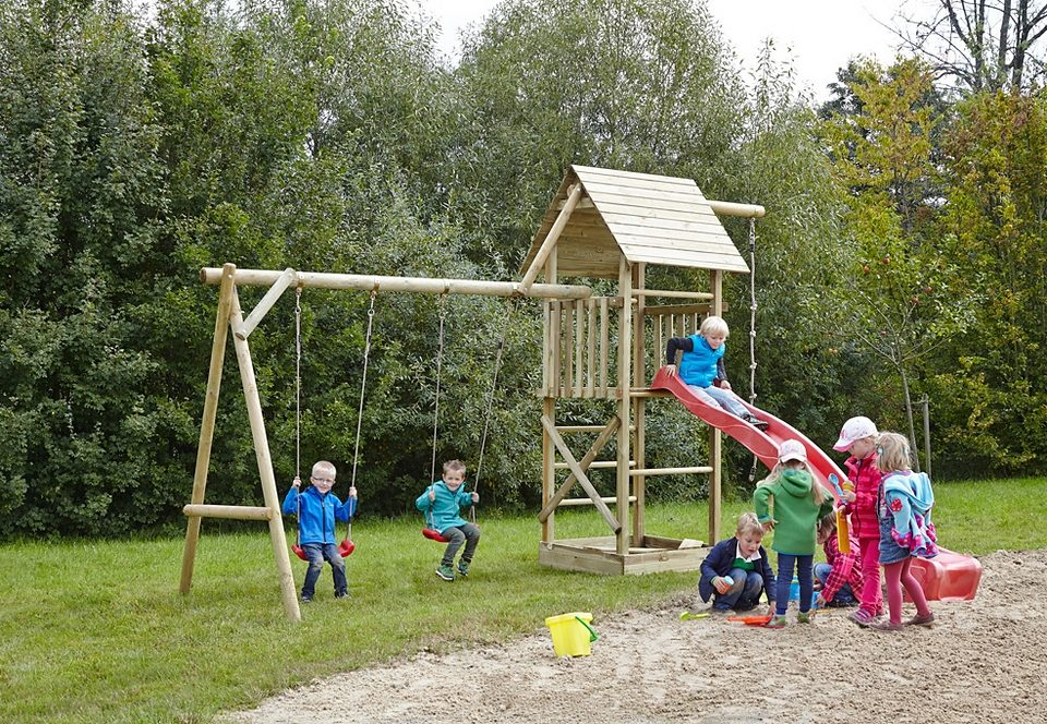 Dein Spielplatz Spielturm mit Sandkasten und Wellenrutsche, rot »Obelix XL mit Holzdach«