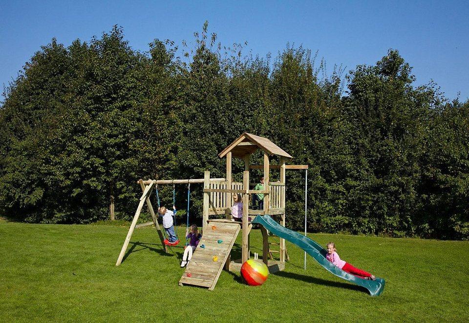 Dein Spielplatz Spielturm mit Sandkasten und Wellenrutsche, grün »»Pirate & Princess 5« in natur