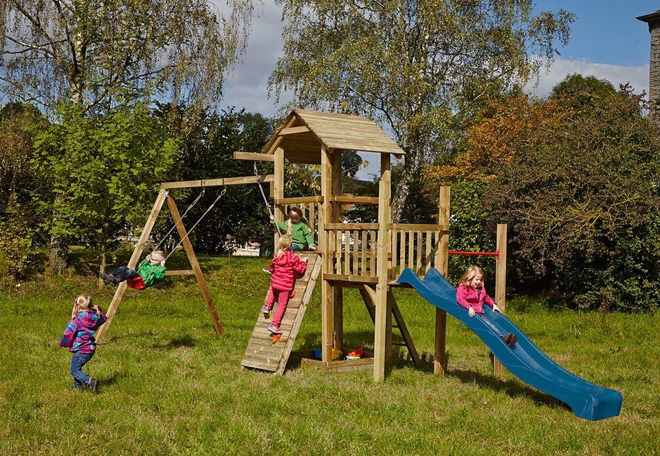 Dein Spielplatz Spielturm mit Schaukel und Kletterwand, ohne Wellenrutsche »Pirate & Princess 1«