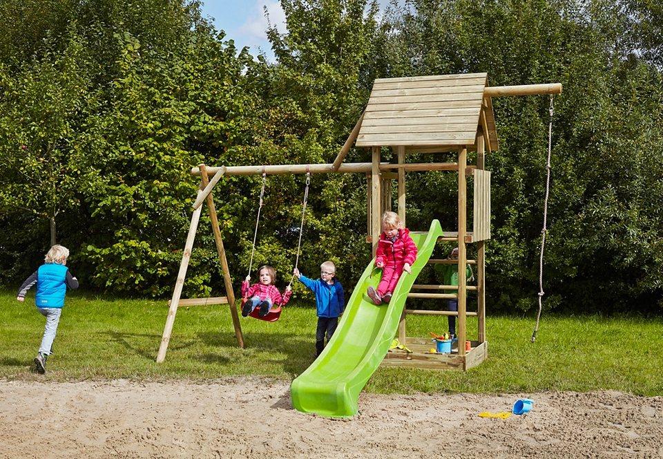 Dein Spielplatz Spielturm mit Schaukel, Kotenseil und Rutsche, hellgrün »Obelix mit Holzdach« in natur
