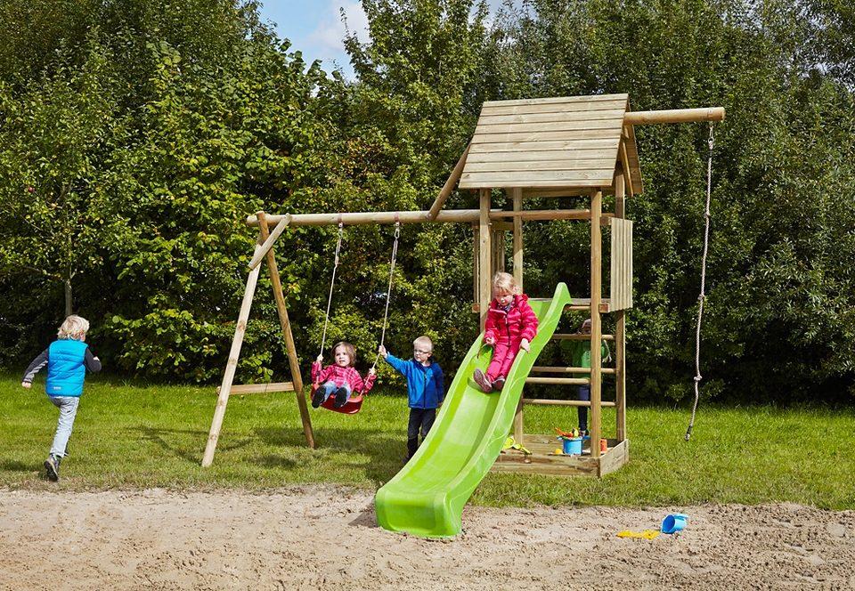 Dein Spielplatz Spielturm mit Schaukel, Kotenseil und Rutsche, hellgrün »Obelix mit Holzdach«