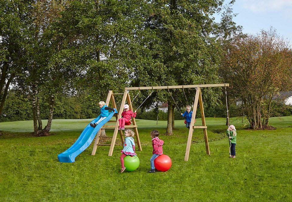 Dein Spielplatz Schaukel inkl. Strickleiter und Wellenrutsche, blau »Leni Premium«