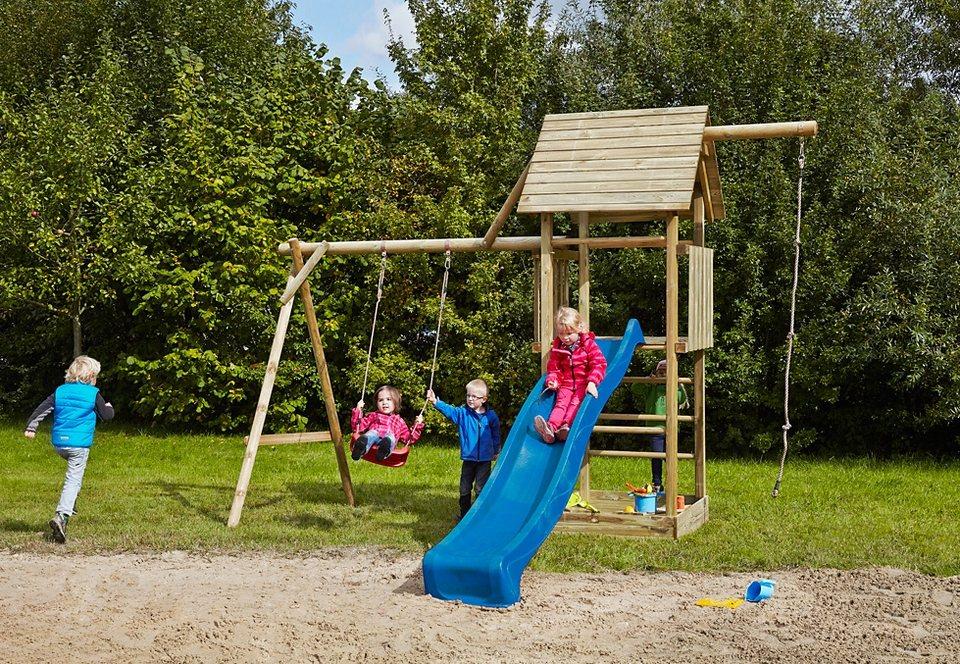 Dein Spielplatz Spielturm mit Holzdach und Wellenrutsche, blau »Obelix mit Holzdach«.